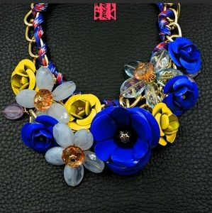 New Betesy Johnson blue/yellow flower necklace